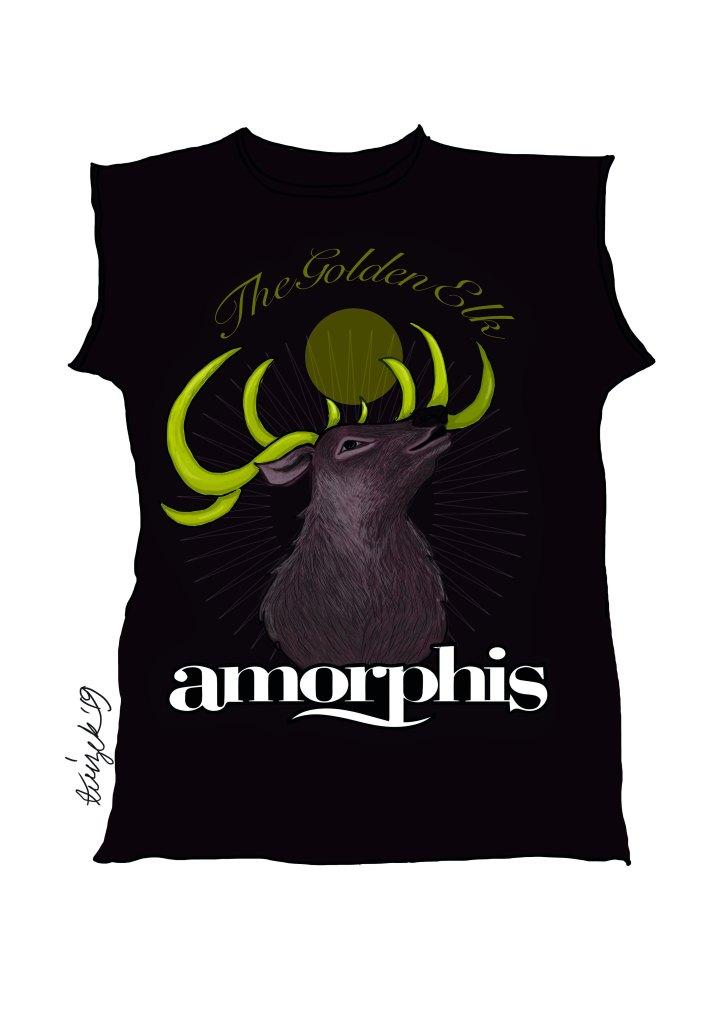 Tuizen koulun harjoitustyönä piirtämä Amorphiksen The Golden Elk -biisiin perustuva bändipaita.